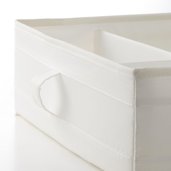 SKUBB Box with compartments, white, 44x34x11 cm