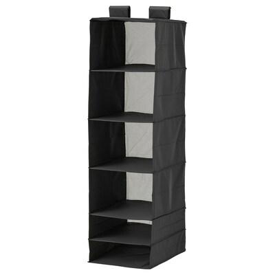 SKUBB تخزين مع 6 حجيرات, أسود, 35x45x125 سم