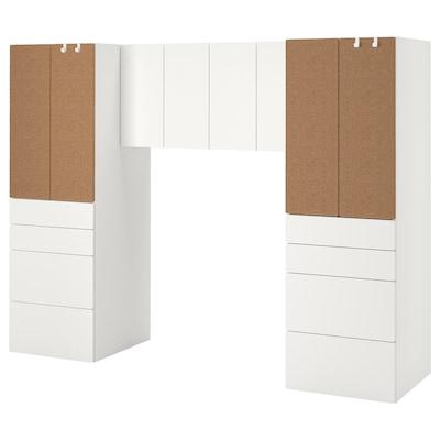 SMÅSTAD تشكيلة تخزين, أبيض/عازل حرارة من الفلّين, 240x57x181 سم