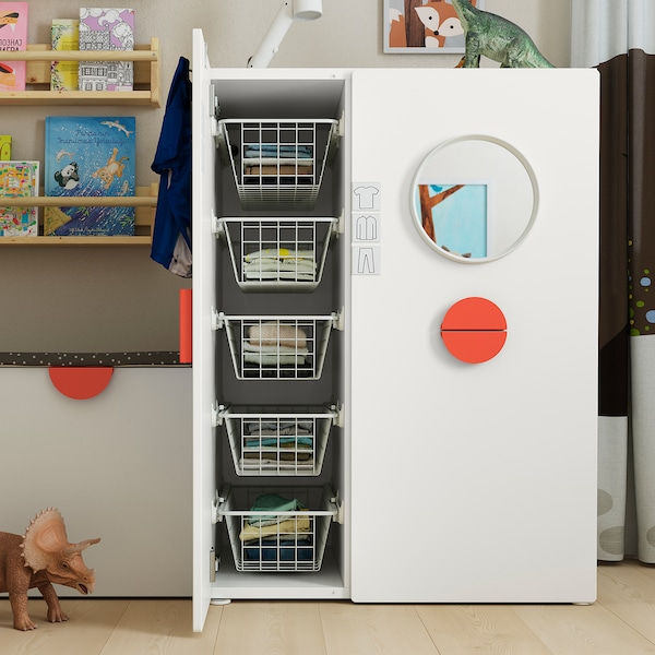 SMÅSTAD Wardrobe with pull-out unit, white, 80x57x108 cm