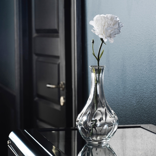 SMYCKA Artificial flower, carnation/white, 30 cm