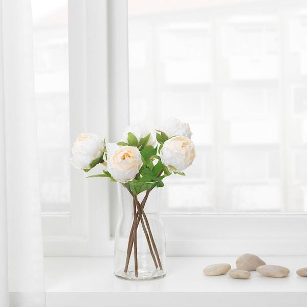 SMYCKA Artificial flower, Peony/white, 30 cm