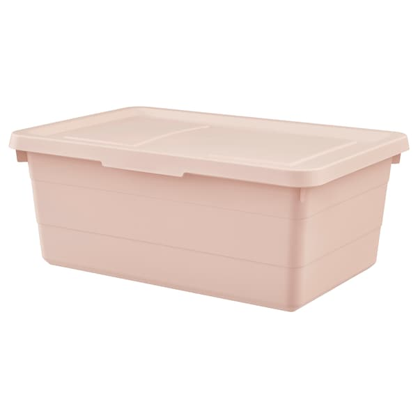 SOCKERBIT Box with lid, pink, 38x25x15 cm