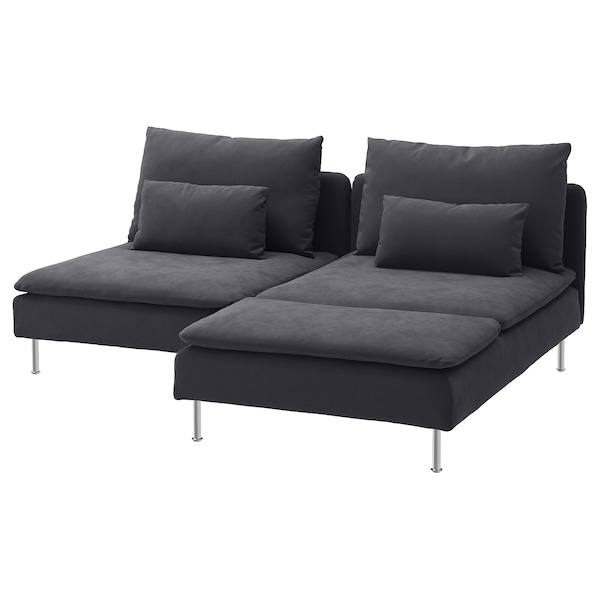 SÖDERHAMN 2-seat sofa, with chaise longue/Samsta dark grey