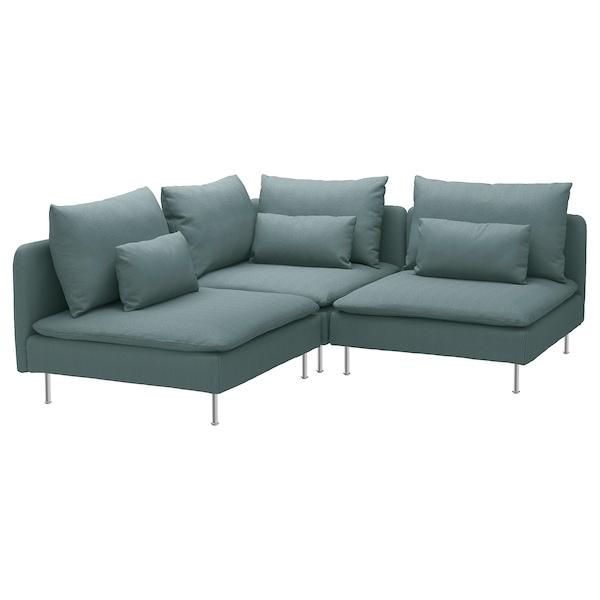 SÖDERHAMN Corner sofa, 3-seat, Finnsta turquoise
