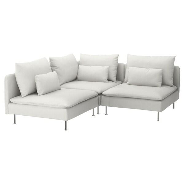 SÖDERHAMN Corner sofa, 3-seat, Finnsta white