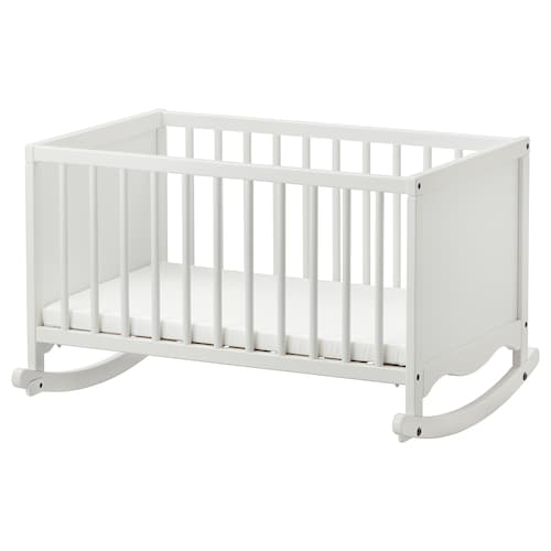 SOLGUL cradle with foam mattress white 84 cm 66 cm 53 cm 81 cm 50 cm