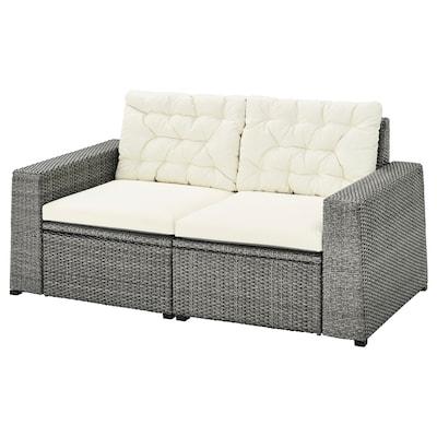 SOLLERÖN 2-seat modular sofa, outdoor, dark grey/Kuddarna beige, 161x82x84 cm