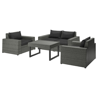 SOLLERÖN 4-seat conversation set, outdoor, dark grey/Hållö black