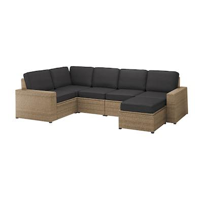 SOLLERÖN Modular corner sofa 4-seat, outdoor, with footstool brown/Järpön/Duvholmen anthracite