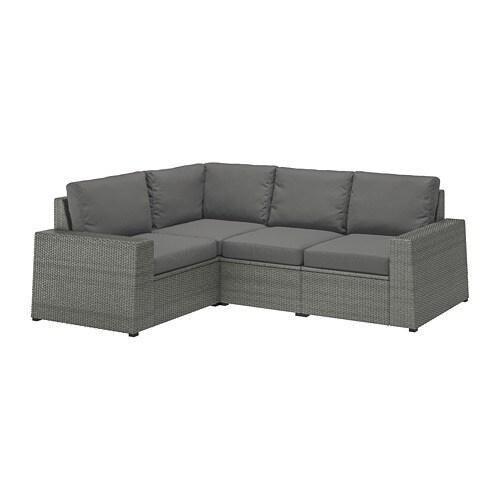 SOLLERÖN Modular corner sofa 3-seat, outdoor, dark grey, Frösön/Duvholmen  dark grey