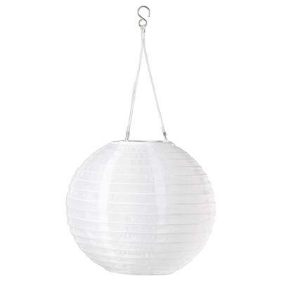 SOLVINDEN LED solar-powered pendant lamp, outdoor/globe white, 30 cm