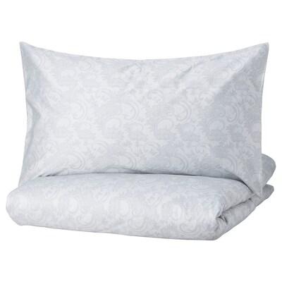 SORGÖRT غطاء لحاف و ٢ غطاء مخدة, رمادي, 240x220/50x80 سم