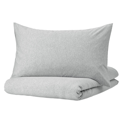 SPJUTVIAL غطاء لحاف/مخدة, رمادي فاتح/خليط, 150x200/50x80 سم