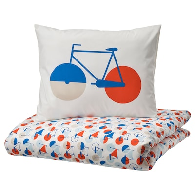 SPORTSLIG Duvet cover and pillowcase, bicycle pattern, 150x200/50x80 cm
