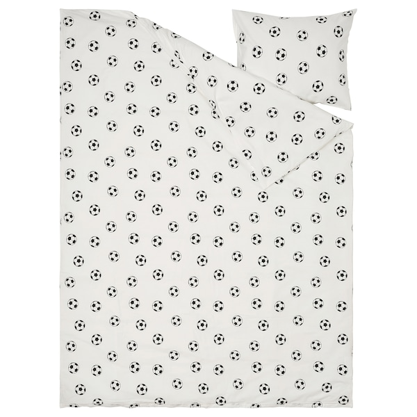 SPORTSLIG غطاء لحاف و غطاء مخدة, نقش كرة قدم, 150x200/50x80 سم