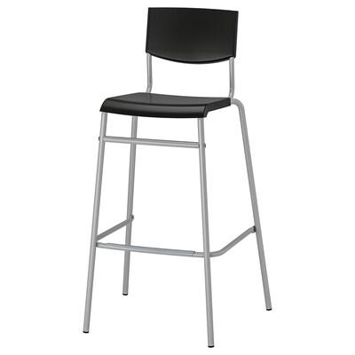 STIG مقعد مرتفع مع مسند ظهر, أسود/لون-فضي, 74 سم