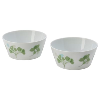 STILENLIG Bowl, leaf patterned white/green, 13 cm