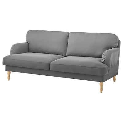STOCKSUND 3-seat sofa, Ljungen medium grey/light brown/wood