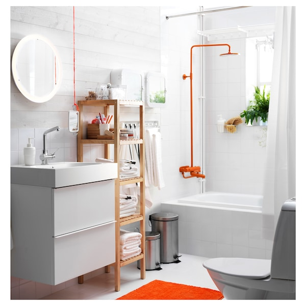 STORJORM مرآة مع إضاءة مدمجة, أبيض, 47 سم