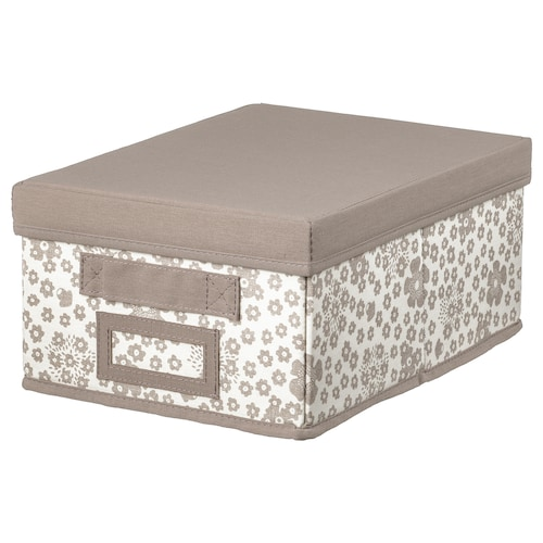STORSTABBE box with lid beige 25 cm 35 cm 15 cm