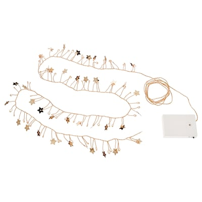 STRÅLA LED lighting chain with 80 lights, battery-operated mini/star gold-colour