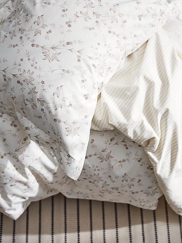 STRANDFRÄNE quilt cover and pillowcase white/light beige 200 /inch² 1 pack 200 cm 150 cm 50 cm 80 cm