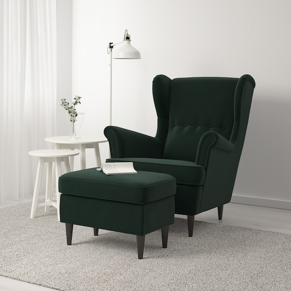 STRANDMON Footstool, Djuparp dark green