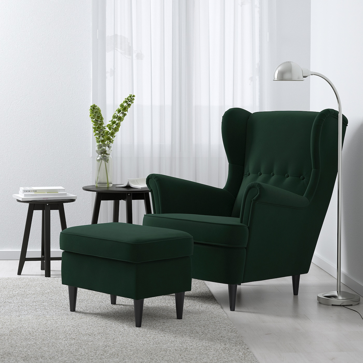 STRANDMON Wing chair, Djuparp dark green