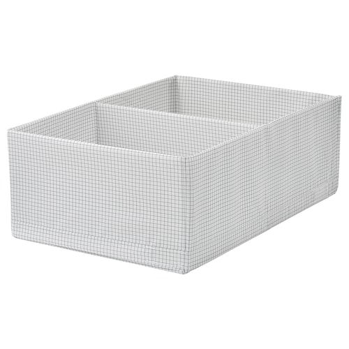 STUK box with compartments white/grey 34 cm 51 cm 18 cm