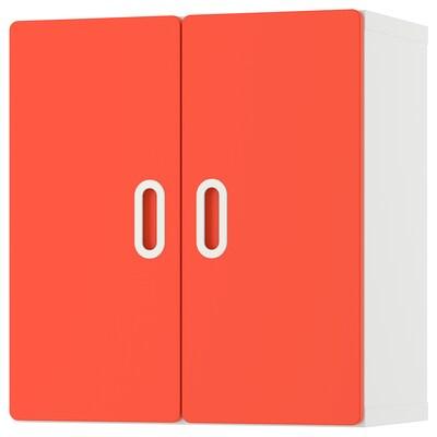 STUVA / FRITIDS Wall cabinet, white/red, 60x30x64 cm