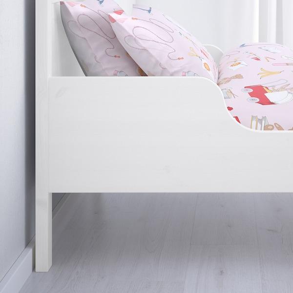 SUNDVIK Ext bed frame with slatted bed base, white, 80x200 cm