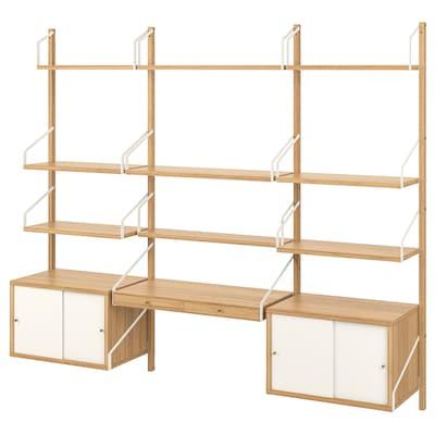 SVALNÄS تشكيلة مساحة عمل حائطية, خيزران/أبيض, 213x35x176 سم