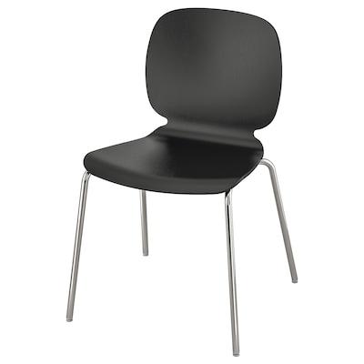 SVENBERTIL Chair, black/Broringe chrome-plated