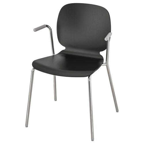 SVENBERTIL chair with armrests black/Dietmar chrome-plated 110 kg 53 cm 50 cm 84 cm 45 cm 42 cm 46 cm