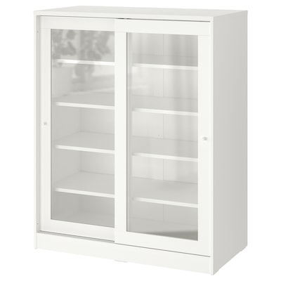 SYVDE خزانة مع أبواب زجاجية, أبيض, 100x123 سم