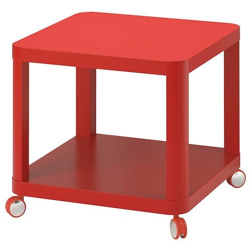 TINGBY side table on castors red 50 cm 50 cm 45 cm 50 cm 90.00 kg 8.00 kg