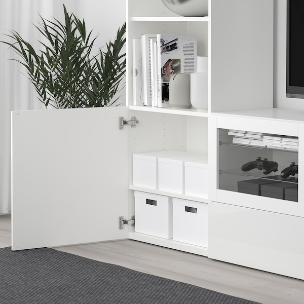 TJENA صندوق تخزين مع غطاء, أبيض, 25x35x20 سم