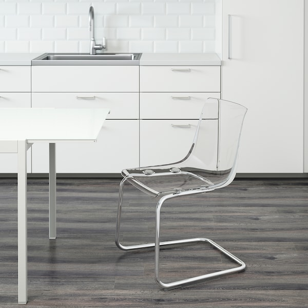 TOBIAS كرسي, شفاف/طلاء كروم