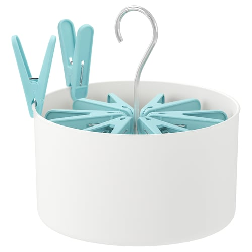 TORKIS peg basket with 30 clothes pegs in/outdoor white/blue