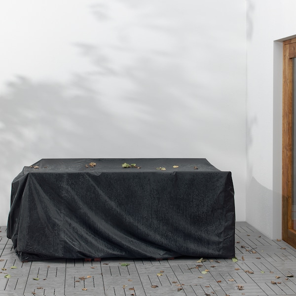 TOSTERÖ Cover for furniture set, dining set/black, 215x135 cm