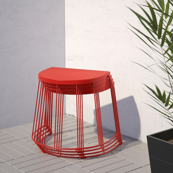 TRANARÖ Stool/side table, in/outdoor, red, 56x41x43 cm