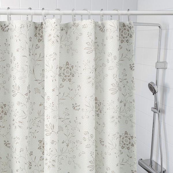 TYCKELN Shower curtain, white/dark beige, 180x200 cm