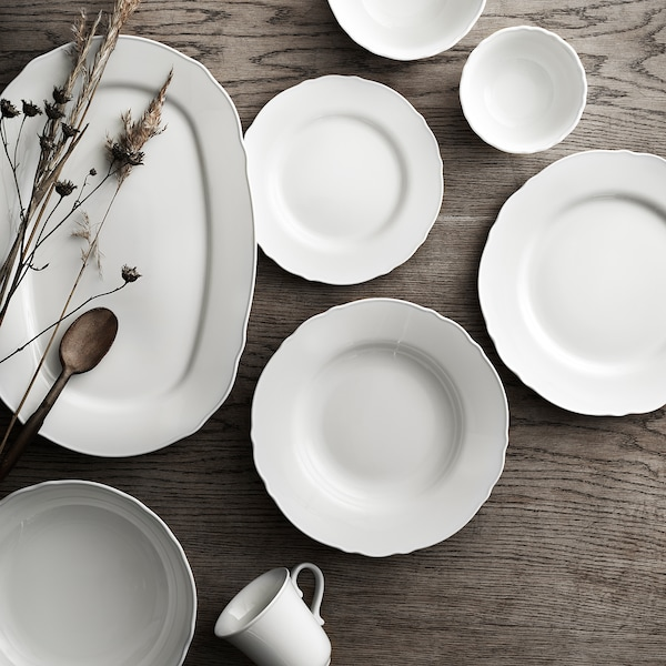 UPPLAGA Serving plate, white, 44x30 cm