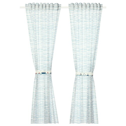 UPPTÅG curtains with tie-backs, 1 pair waves/boats pattern/blue 300 cm 120 cm
