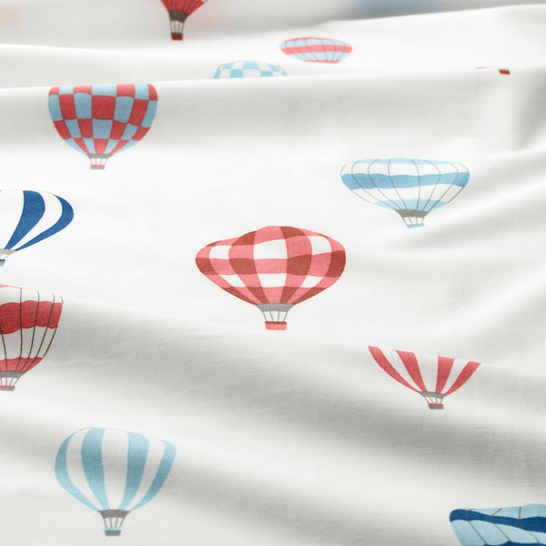 UPPTÅG غطاء لحاف و غطاء مخدة, نقش منطاد/أزرق, 150x200/50x80 سم