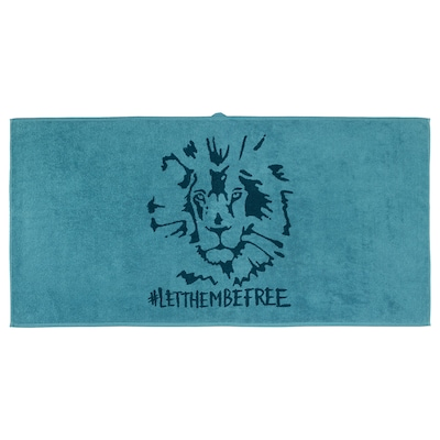 URSKOG Bath towel, lion/blue, 70x140 cm