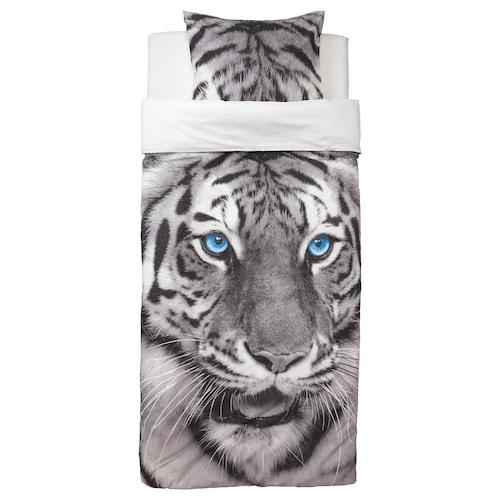 URSKOG quilt cover and pillowcase tiger/grey 200 cm 150 cm 50 cm 80 cm