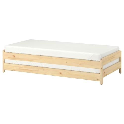 UTÅKER stackable bed with 2 mattresses pine/Husvika firm 46 cm 205 cm 83 cm 23 cm 2 pack 200 cm 80 cm