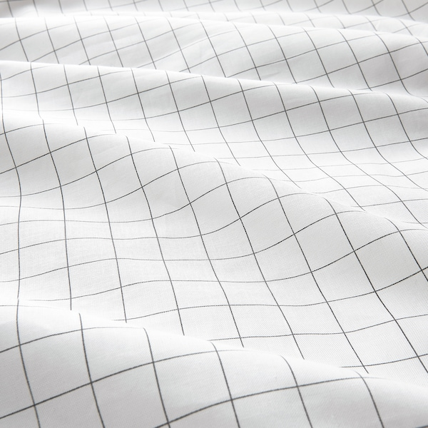 VÄNKRETS غطاء لحاف و غطاء مخدة, نقش كاروهات أبيض/أصفر, 150x200/50x80 سم